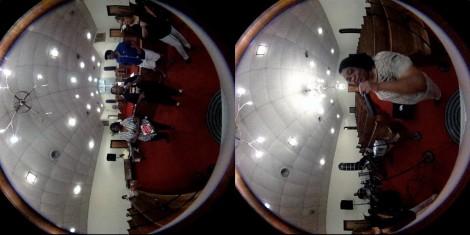 Captura de tela de vídeo não processado em 360 ° do grupo gospel, The Angelic Harmonizers, na Capela de Zion AME Clinton Igreja em Selma, Alabama. Vídeo por Joel Beeson e Emily Pelland