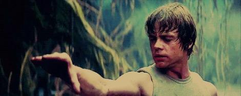 Luke Skywalker evocando a força