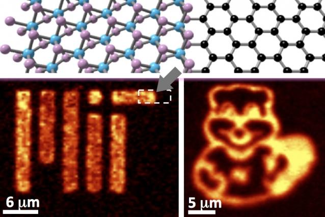 A seta indica a heteroestrutura lateral do grafeno-MoS2, o que poderia constituir a base de chips de computadores ultrafinos.