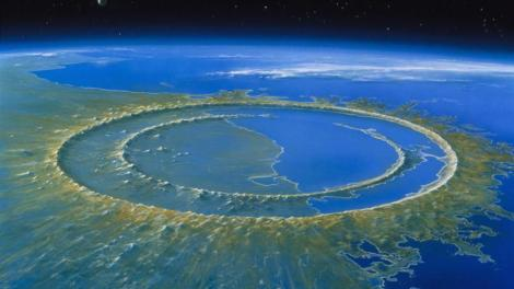 Reconstrução feita por um artista da cratera de Chicxulub