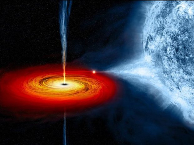 Ilustração de um buraco negro jovem