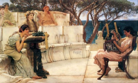 Sappho e Alcaeus pelo. Sir Lawrence Alma-Tadema