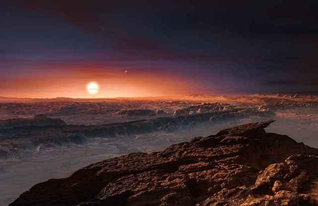 Impressão artistica do planeta em torno de Proxima Centauri.