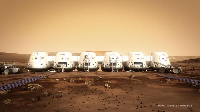 Conceito artístico de um astronauta da Mars One e seu habitat.