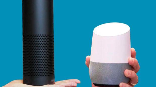 Amazon Echo a esquerda e Google Home a Direita
