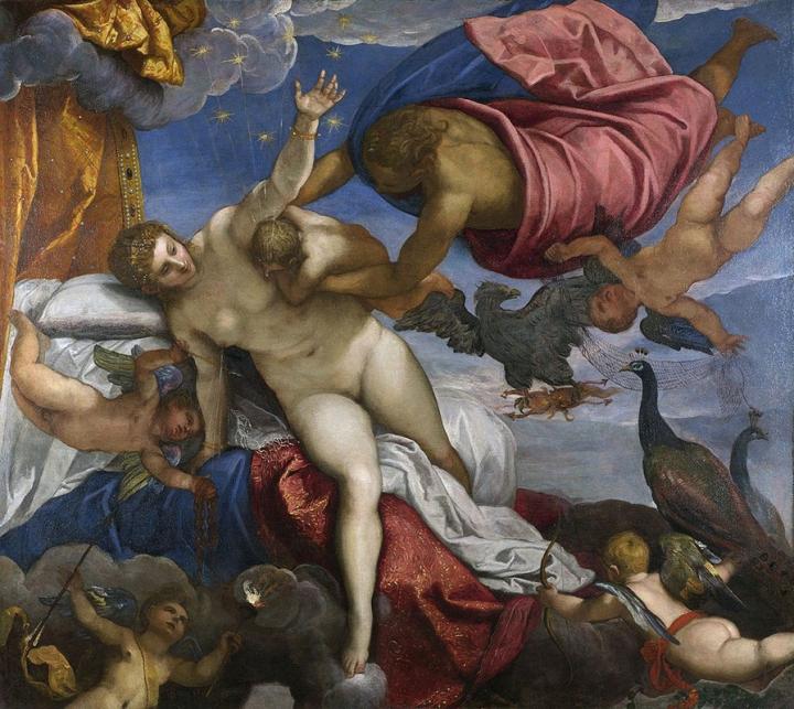 """As origens do nome da nossa galáxia explicado pelos gregos antigos na obra de Jacopo tintoretto """"A origem da Via láctea"""", pitada por volta de 1575"""